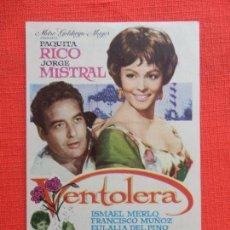 Cine: VENTOLERA, IMPECABLE SENCILLO, PAQUITA RICO JORGE MISTRAL, CON PUBLI T.CIRCO 1962. Lote 127773935