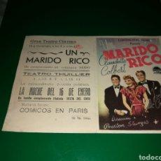 Cine: PROGRAMA DE CINE DOBLE. UN MARIDO RICO. GRAN TEATRO CINEMA DE GIRONES. Lote 127780934