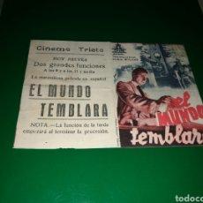 Cine: PROGRAMA DE CINE DOBLE. EL MUNDO CAMBIARÁ. CINEMA TRIETA. AÑOS 40. Lote 127781184