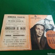 Cine: PROGRAMA DE CINE DOBLE. ABNEGACIÓN DE MADRE. CINENA TRIETA. Lote 127818730