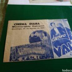 Cine: PROGRAMA DE CINE DOBLE. DIVINO VALLS. CINEMA DIANA. Lote 127819200