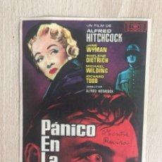 Programa de mano con publicidad. Cine. A. Hitchcock. Pánico en la escena.