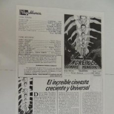Folhetos de mão de filmes antigos de cinema: EL INCREIBLE HOMBRE MENGUANTE - FOLLETO MANO ORIGINAL REPOSICION - JACK ARNOLD CINE CASABLANCA. Lote 127915051