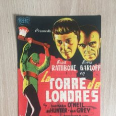 Cine: PROGRAMA DE MANO CON PUBLICIDAD. CINE. LA TORRE DE LONDRES. B. KARLOFF.. Lote 128022711