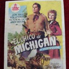 Cine: EL CHICO DE MICHIGAN. JON HALL, RITA JOHNSON, VICTOR MCLAGLEN. SIN PUBLICIDAD. Lote 128044775