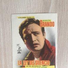 Cine: PROGRAMA DE MANO. CINE. E. KAZAN. LA LEY DEL SILENCIO. M. BRANDO.. Lote 128054274