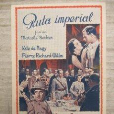 Cine: RUTA IMPERIAL IMPECABLE PUBLICIDAD EN EL DORSO SALON FEMINA 1938. Lote 128074939