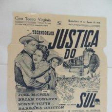 Cine: EL VIRGINIANO - FOLLETO DE MANO LOCAL EXTR - JOEEL MCCREA BRIANDONLEVY IMPRESO CINE TEATRO VIRGINIA. Lote 128104359