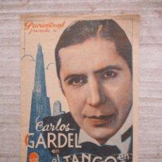 Cine: CARLOS GARDEL EL TANGO EN BROADWAY PROGRAMA DOBLE CINEMA CASA DEL POBLE 1938. Lote 128203343