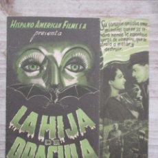 Cine: LA HIJA DE DRACULA PROGRAMA DOBLE CINEMA CASA DEL POBLE 1938. Lote 128203963