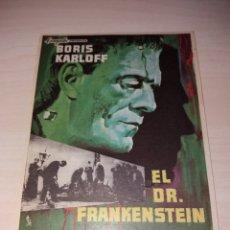 Cine: FOLLETO DE MANO EL DR. FRANKENSTEIN - BORIS KARLOFF. Lote 128227038