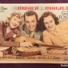 Cine: FOLLETO DE MANO MUSICA MAGICA. PUBLICIDAD CINEMA ARBORENSE. Lote 128256759