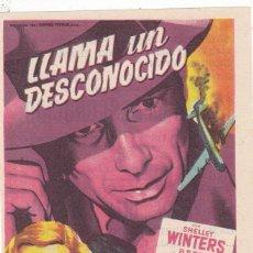 Cine: LLAMA UN DESCONOCIDO CON SHELLEY WINTERS, BETTE DAVIS, GARY MERRILL, MICHAEL RENNIE AÑO 1953 C/P. Lote 128321363