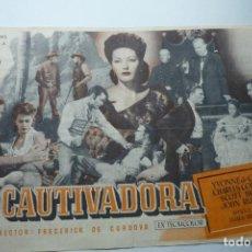 Flyers Publicitaires de films Anciens: PROGRAMA LA CAUTIVADORA - YVONNE DE CARLO-PÙBLICIDAD KURSAAL MONTBLANC. Lote 128321699