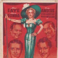 Cine: LA REINA DE LA CANCIÓN CON ALICE FAYE, HENRY FONDA, DON AMECHE AÑO 1946 CON PUBLICIDAD. Lote 128323263