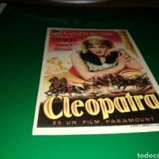 Cine: PROGRAMA DE CINE AÑOS 40. CLEOPATRA. Lote 128335394