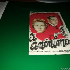 Cine: PROGRAMA DE CINE AÑOS 50. EL ANÓNIMO. Lote 128339551