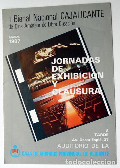 TRÍPTICO I BIENAL CAJALICANTE CINE AMATEUR DE LIBRE CREACIÓN CAJA AHORROS PROVINCIAL ALICANTE 1987 (Cine - Folletos de Mano - Documentales)