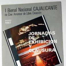 Cine: TRÍPTICO I BIENAL CAJALICANTE CINE AMATEUR DE LIBRE CREACIÓN CAJA AHORROS PROVINCIAL ALICANTE 1987. Lote 128340407