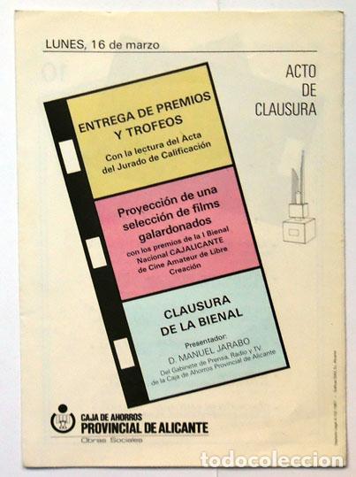 Cine: Tríptico I Bienal Cajalicante cine amateur de libre creación Caja ahorros provincial Alicante 1987 - Foto 3 - 128340407