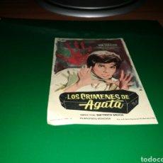 Cine: PROGRAMA DE CINE ANTIGUO. LOS CRÍMENES DE AGATA. Lote 128342134