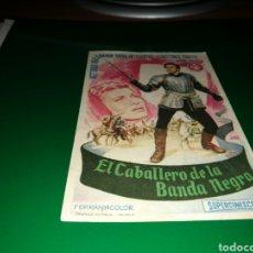 Cine: PROGRAMA DE CINE ANTIGUO. EL CABALLERO DE LA BANDA NEGRA. Lote 128342176