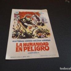 Cine: PROGRAMA DE MANO ORIG - LA HUMANIDAD EN PELIGRO - CINE IMPERIAL . Lote 128367003