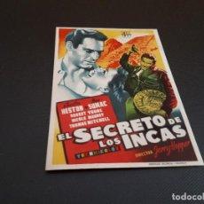 Cine: PROGRAMA DE MANO ORIG - EL SECRETO DE LOS INCAS - CINE CLARIN . Lote 128367391