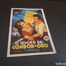 Cine: PROGRAMA DE MANO ORIG - EL TESORO DEL CONDOR DE ORO - CINE DE LA LINEA . Lote 128367595