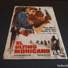Cine: PROGRAMA DE MANO ORIG - EL ULTIMO MOHICANO - CINE DE ALCIRA. Lote 128368011
