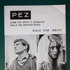 Cine: CINE PEZ (MADRID) PROGRAMA CICLO CINE INGLÉS - ARTE Y ENSAYO 1969. Lote 128382227