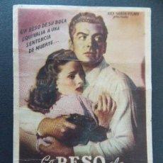 Cine: FOLLETO CINE - PROGRAMA - EL BESO DE LA MUERTE - CINE BALAGUER - AÑOS 50... R-9842. Lote 128430895