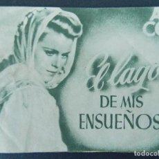 Cine: FOLLETO CINE - PROGRAMA - EL LAGO DE MIS SUEÑOS - CINE NURIA, VALLFOGONA DE BALAGUER -1946... R-9843. Lote 128431547