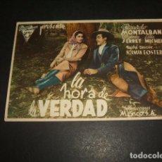 Cine: LA HORA DE LA VERDAD PROGRAMA DE MANO TEATRO CINE MARIN TERUEL. Lote 128432447