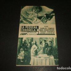 Cine: SHIRLEY TEMPLE LA PEQUEÑA CORONELA PROGRAMA DE MANO CINE AMERICA BARCELONA. Lote 128432599