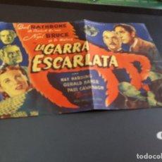 Cine: PROGRAMA DE MANO ORIG - LA GARRA ESCARLATA - CINE DE VALENCIA . Lote 128443911