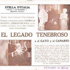 Cine: EL LEGADO TENEBROSO (THE CAT AND THE CANARY) DE PAUL LENI, CON LAURA LA PLANTE. Lote 128471563