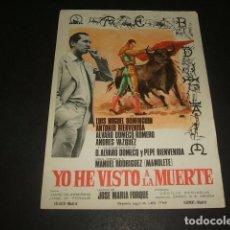 Cine: YO HE VISTO A LA MUERTE PROGRAMA DE MANO . Lote 128472123