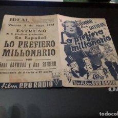 Cine: PROGRAMA DE MANO ORIG DOBLE - LO PREFIERO MILLONARIO - CINE DE ALICANTE . Lote 128481679