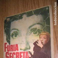 Cine: FURIA SECRETA. PUBLICIDAD DE CINE DE VALENCIA AL DORSO. Lote 128569027