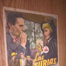 Cine: LAS FURIAS. PUBLICIDAD DE CINE DE LIRIA AL DORSO. Lote 128569171
