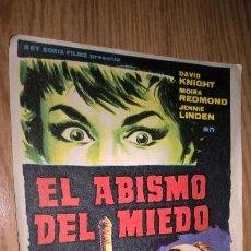 Cine: EL ABISMO DEL MIEDO. PUBLICIDAD DE CINE DE LIRIA AL DORSO. Lote 128569507