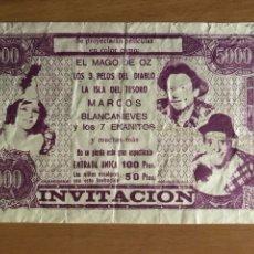 Cine: PROGRAMA INVITACIÓN GRAN FESTIVAL INFANTIL.EL MAGO DE OZ LA ISLA DEL TESORO BLANCANIEVES ...... Lote 128635768