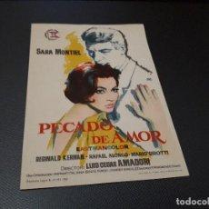 Cine: PROGRAMA DE MANO ORIG - PECADO DE AMOR - CINE BOHEMIO . Lote 128652735