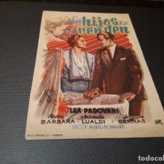 Cine: PROGRAMA DE MANO ORIG - LOS HIJOS NO SE VENDEN - CINE DE VALENCIA . Lote 128668935