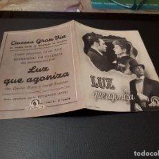 Cine: PROGRAMA DE MANO ORIG DOBLE - LUZ QUE AGONIZA - CINE DE VALENCIA. Lote 128669111