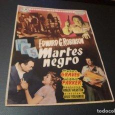 Cine: PROGRAMA DE MANO ORIG - MARTES NEGRO - CINE TEATRO BUENOS AIRES. Lote 128669567