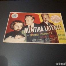 Cine: PROGRAMA DE MANO ORIG - MENTIRA LATENTE - CINE RIALTO. Lote 128669807