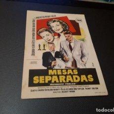 Cine: PROGRAMA DE MANO ORIG - MESAS SEPARADAS - CINE DE ALICANTE. Lote 128669911