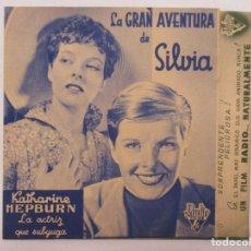 Cine: LA GRAN AVENTURA DE SILVIA DOBLE CON PUBLICIDAD CINEMA CASA DE POBLE 1938. Lote 128700503